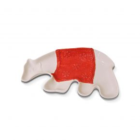 DECO PLATE CHRISTMAS BEAR BIG WHITE 26X15CM