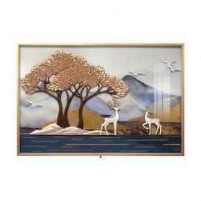 WALL DECO DUO DEER TREE MIX COLOR 90X60CM