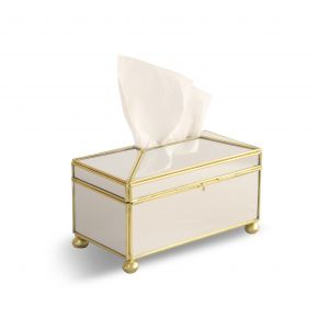 TISSUE BOX TERRAMIRROR CLEAR GOLD 21X11 CSG