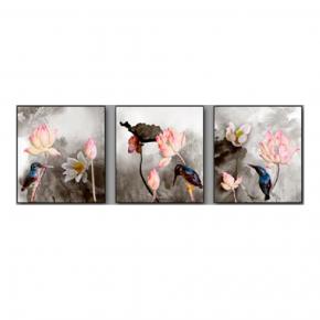 WALL DECO THREE BIRD & LOTUS GRA 180X60